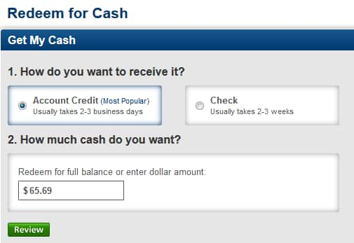 Screen grab of credit card cash back redemption options